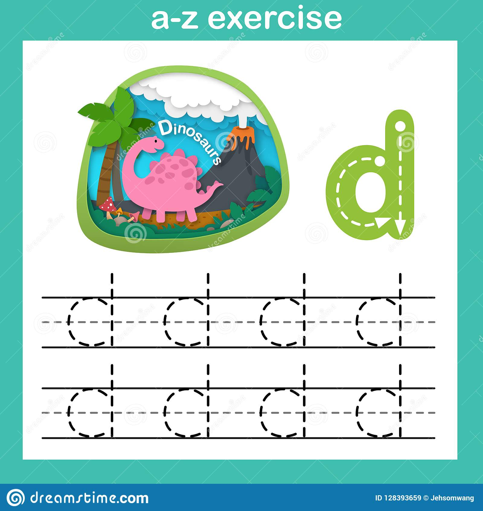 Alphabet Letter D Dinosaur Exercise Paper Cut Concept