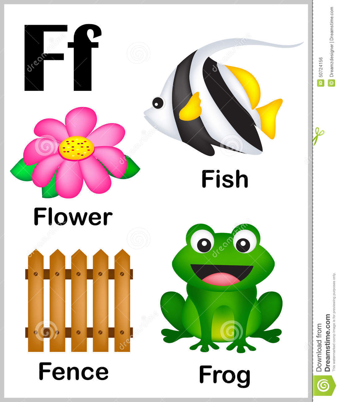 Alphabet Letter F Pictures Stock Vector Illustration Of