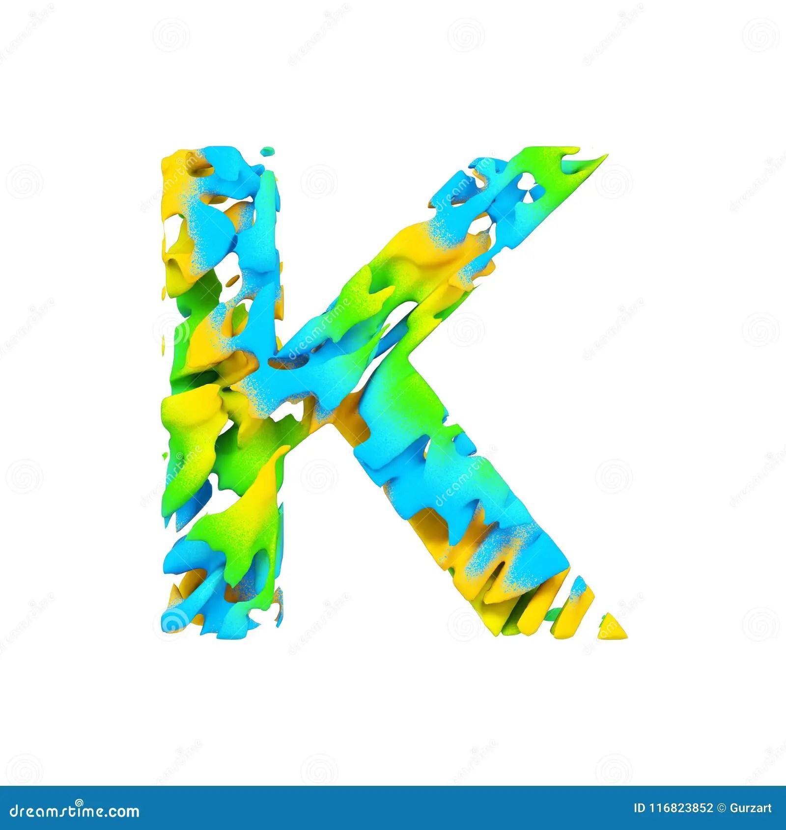 Alphabet Letter K Uppercase Liquid Font Made Of Blue