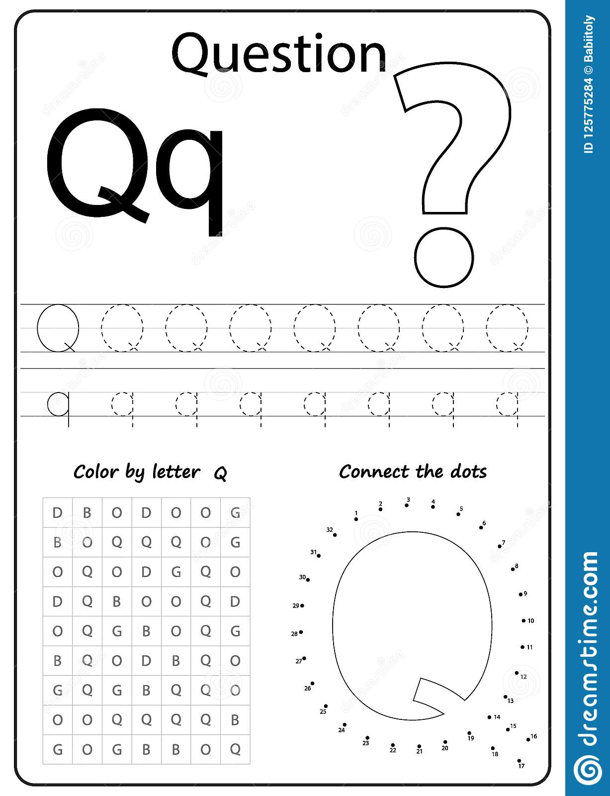 Writing Letter Q Worksheet Writing A Z Alphabet Exercises Game For Kids Stock Vector