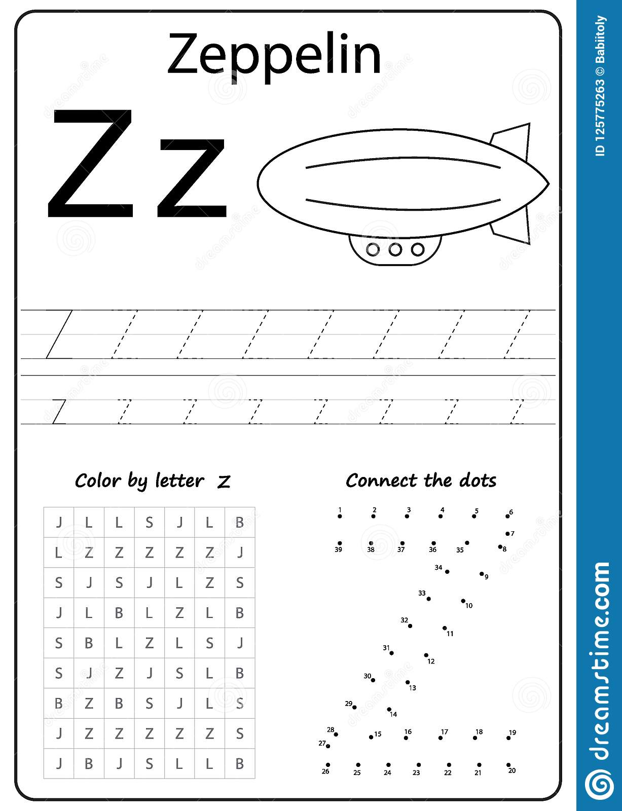 Writing Letter Z Worksheet Writing A Z Alphabet Exercises Game For Kids Stock Vector