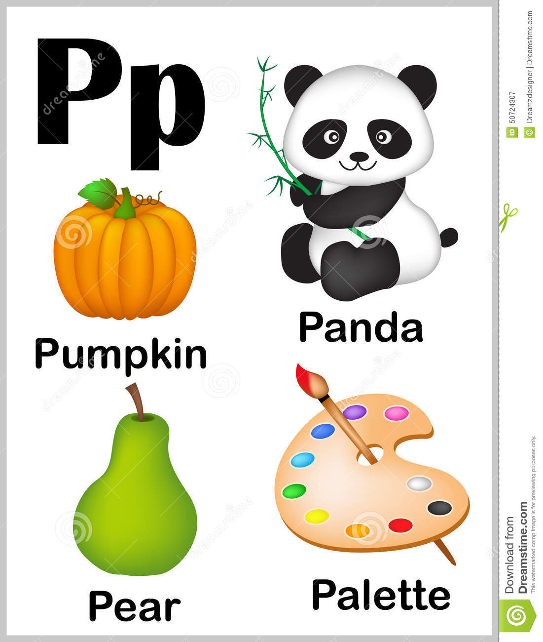 Alphabet Letter P Pictures Stock Vector Illustration Of