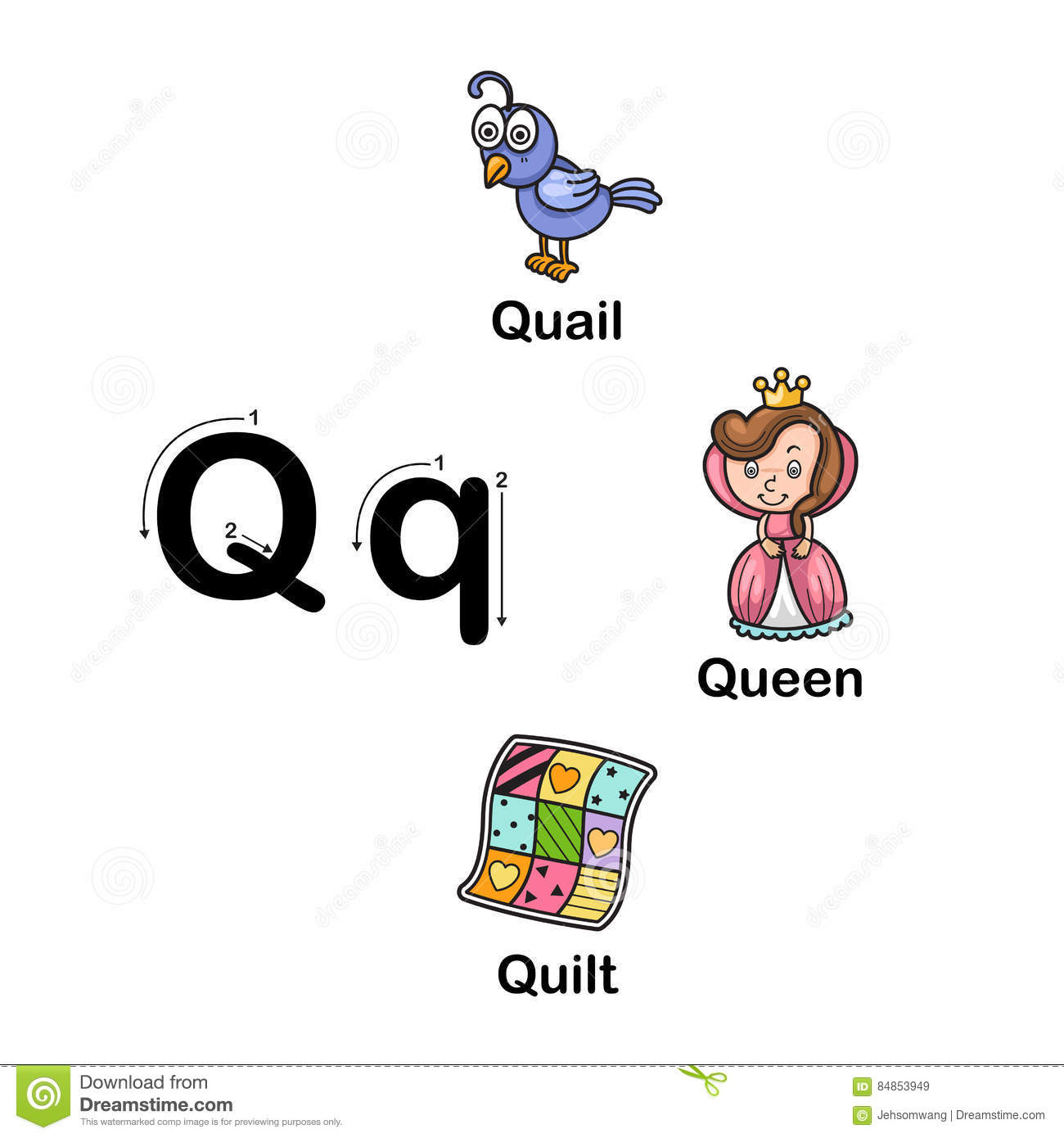 Alphabet Letter Q Quail Queen Quilt Illustration Stock