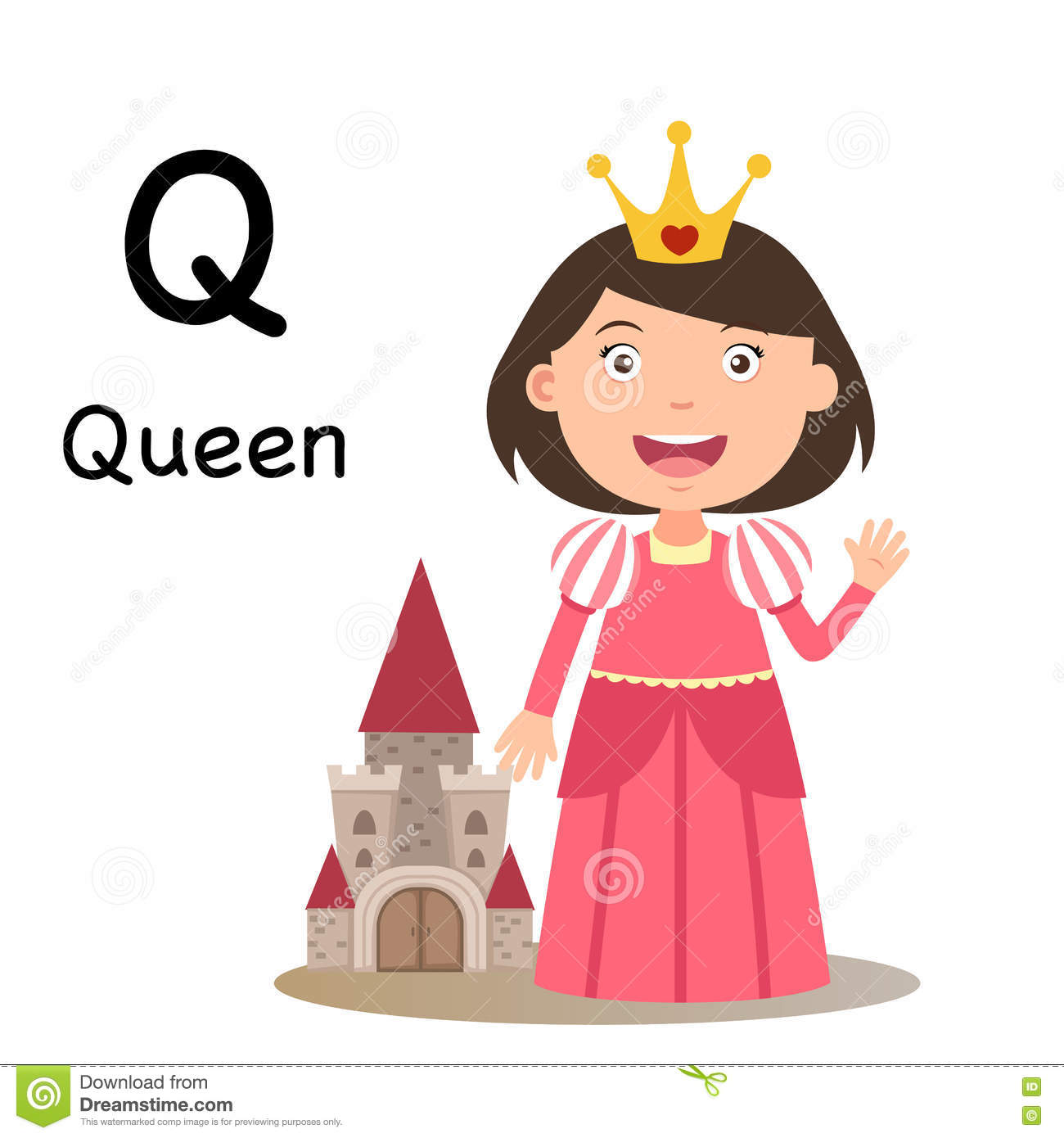 Alphabet Letter Q Queen Vector Stock Vector
