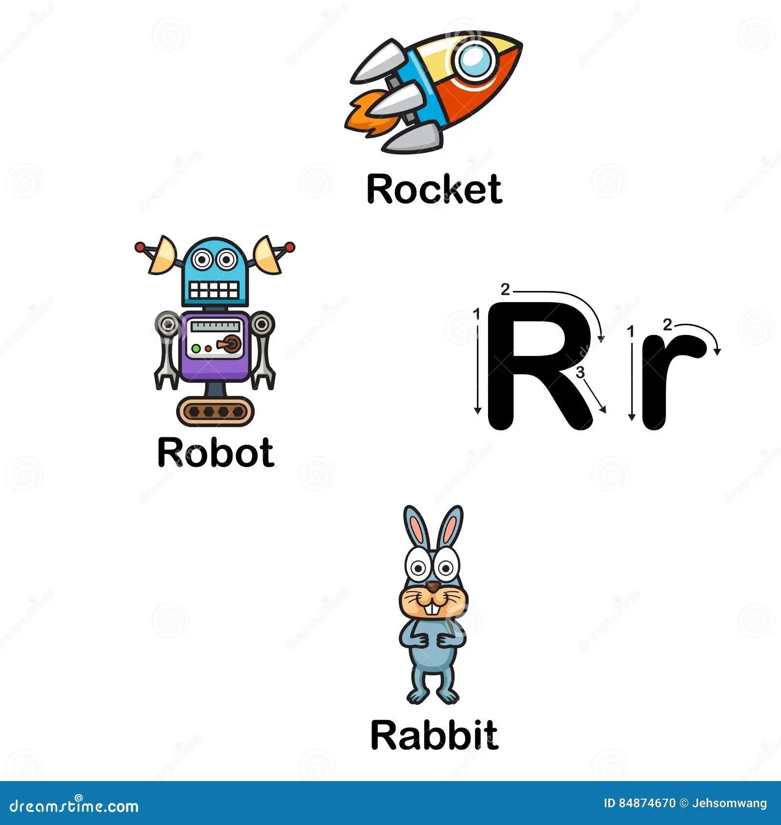 Alphabet Letter R Rocket Robot Rabbit Illustration Stock