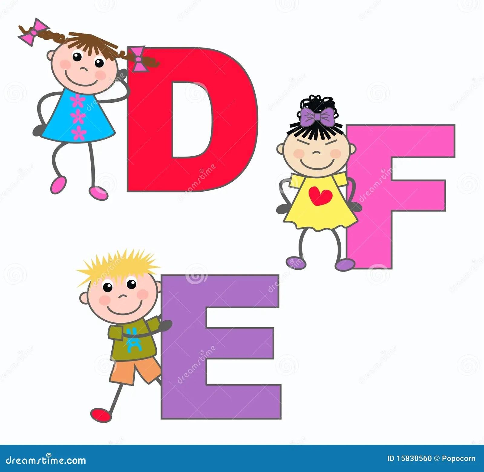 Alphabet Letters D E F Stock Photo