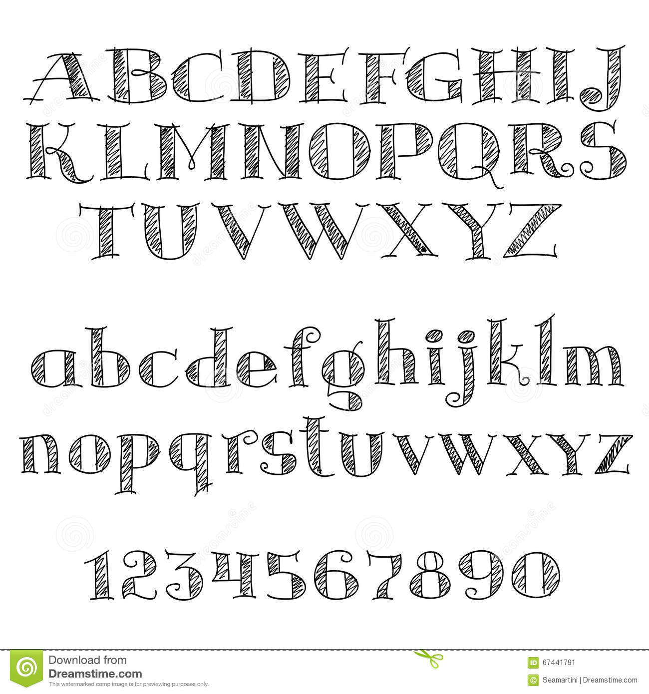 Alphabet Letters Font With Cross Hatching Stock Vector