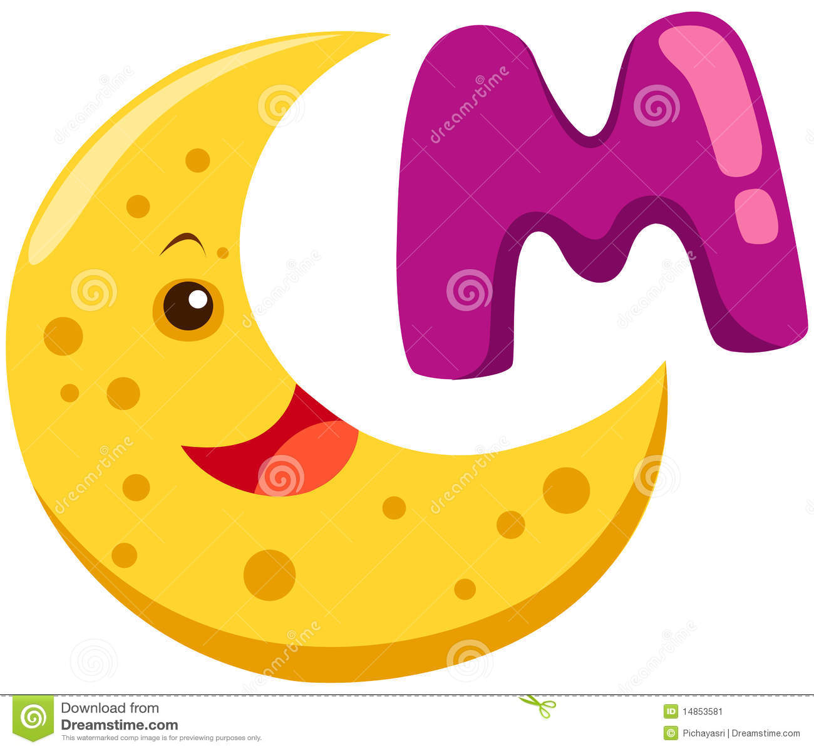 Alphabet M For Moon Stock Vector Illustration Of