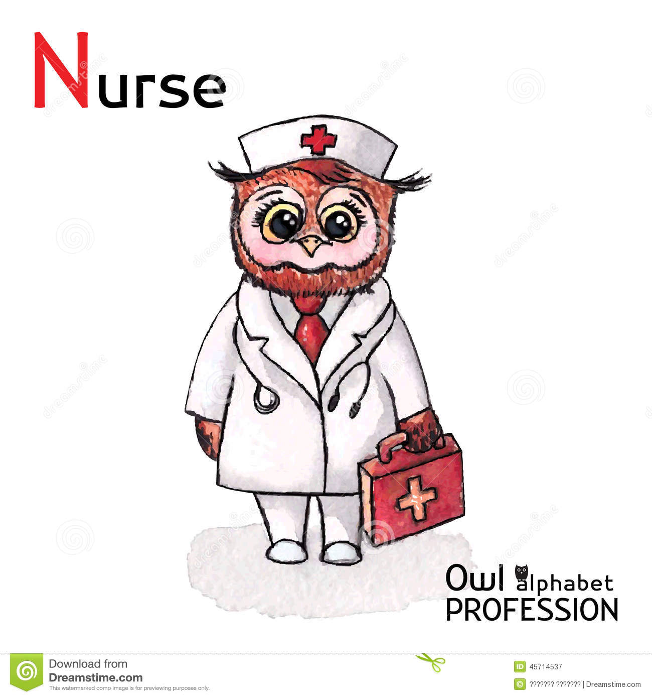 Alphabet Professions Owl Letter N Nurse Character Vector Watercolor