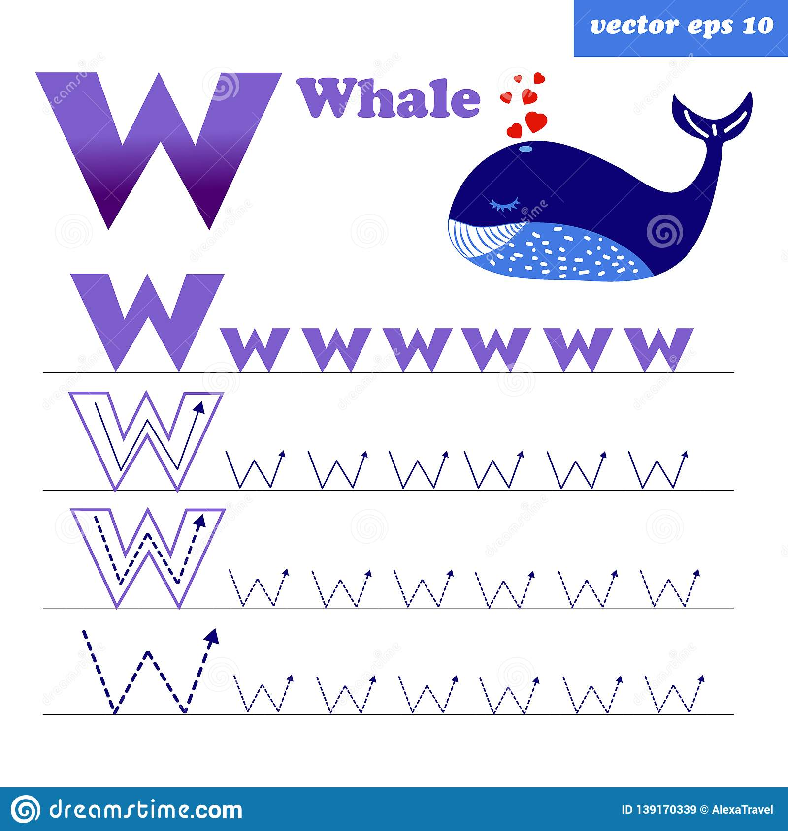 W Letter With Funny Cartoon Whale Character Stock Vector