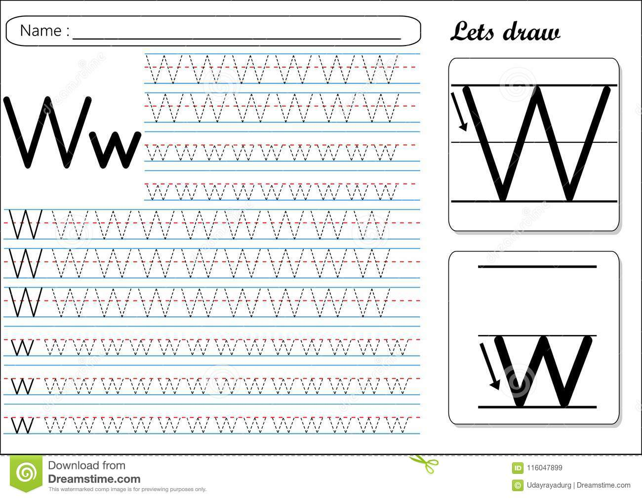 Tracing Worksheet Ww Stock Vector Illustration Of Guide