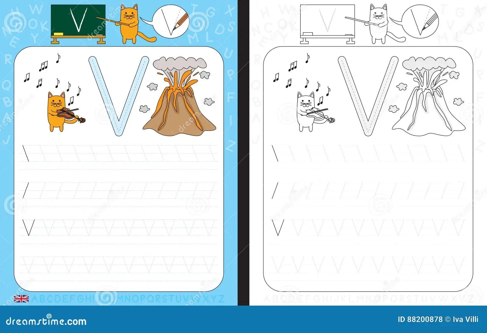 Alphabet Tracing Worksheet Stock Vector Illustration Of Line