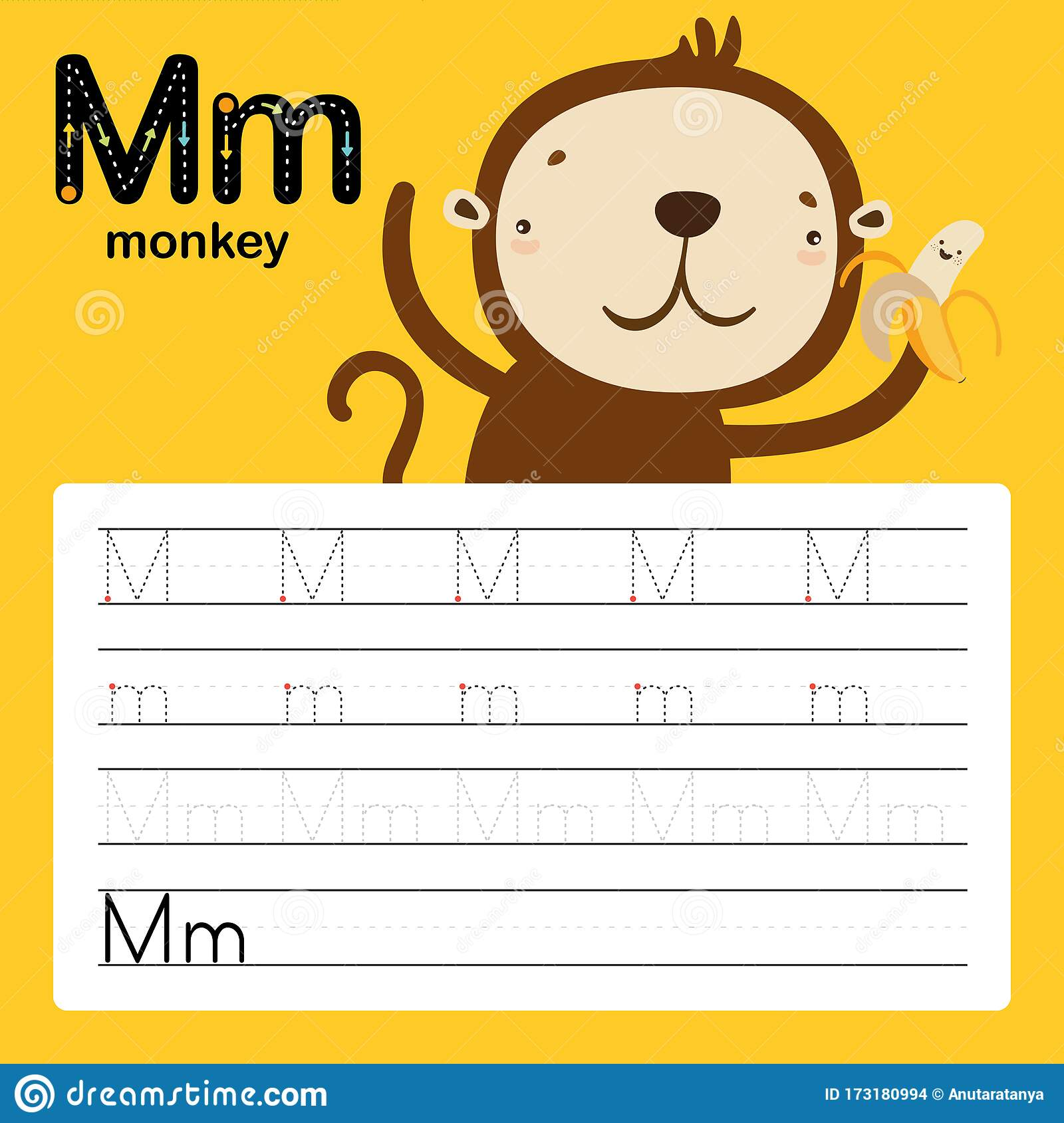 Letter M Worksheet Cartoon Vector