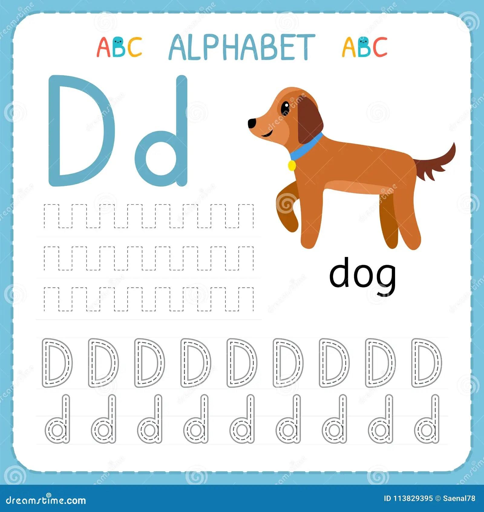 Alphabet Tracing Worksheet For Preschool And Kindergarten Writing Practice Letter D Exercises