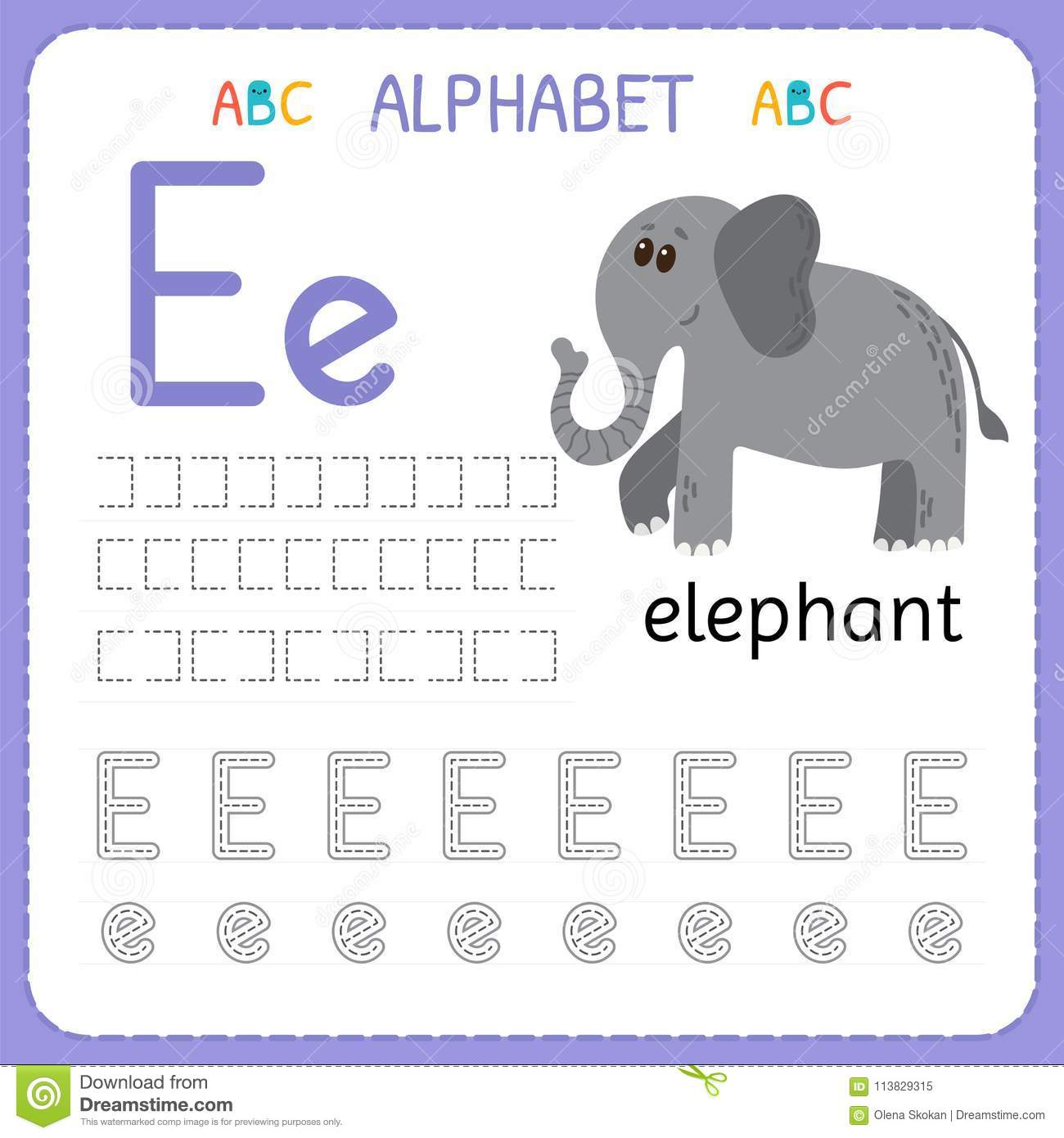 Alphabet Tracing Worksheet For Preschool And Kindergarten Writing Practice Letter E Exercises
