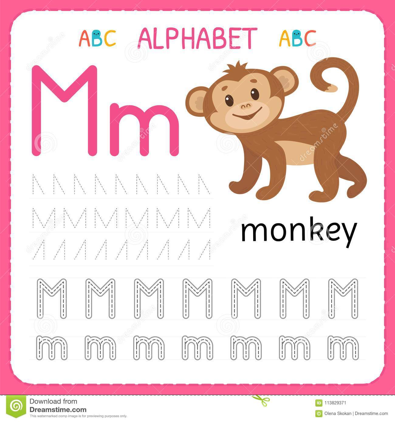 Alphabet Tracing Worksheet Cartoon Vector