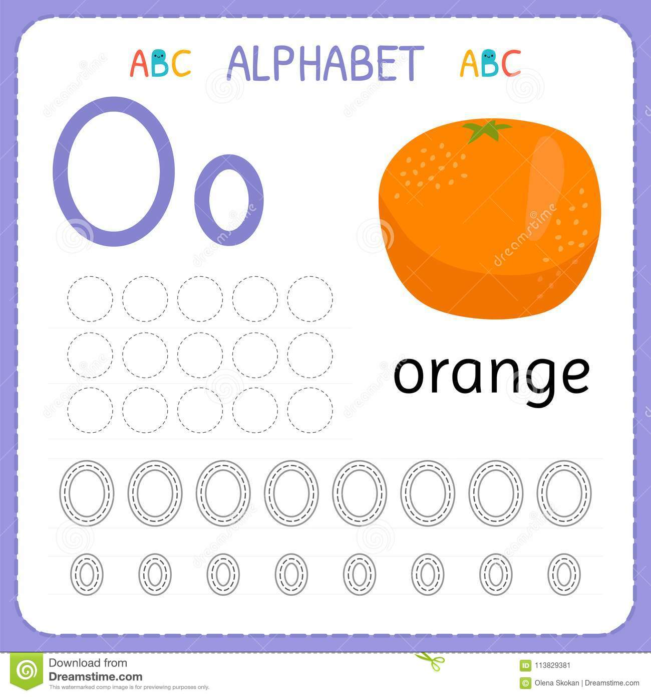 Alphabet Tracing Worksheet For Preschool And Kindergarten Writing Practice Letter O Exercises
