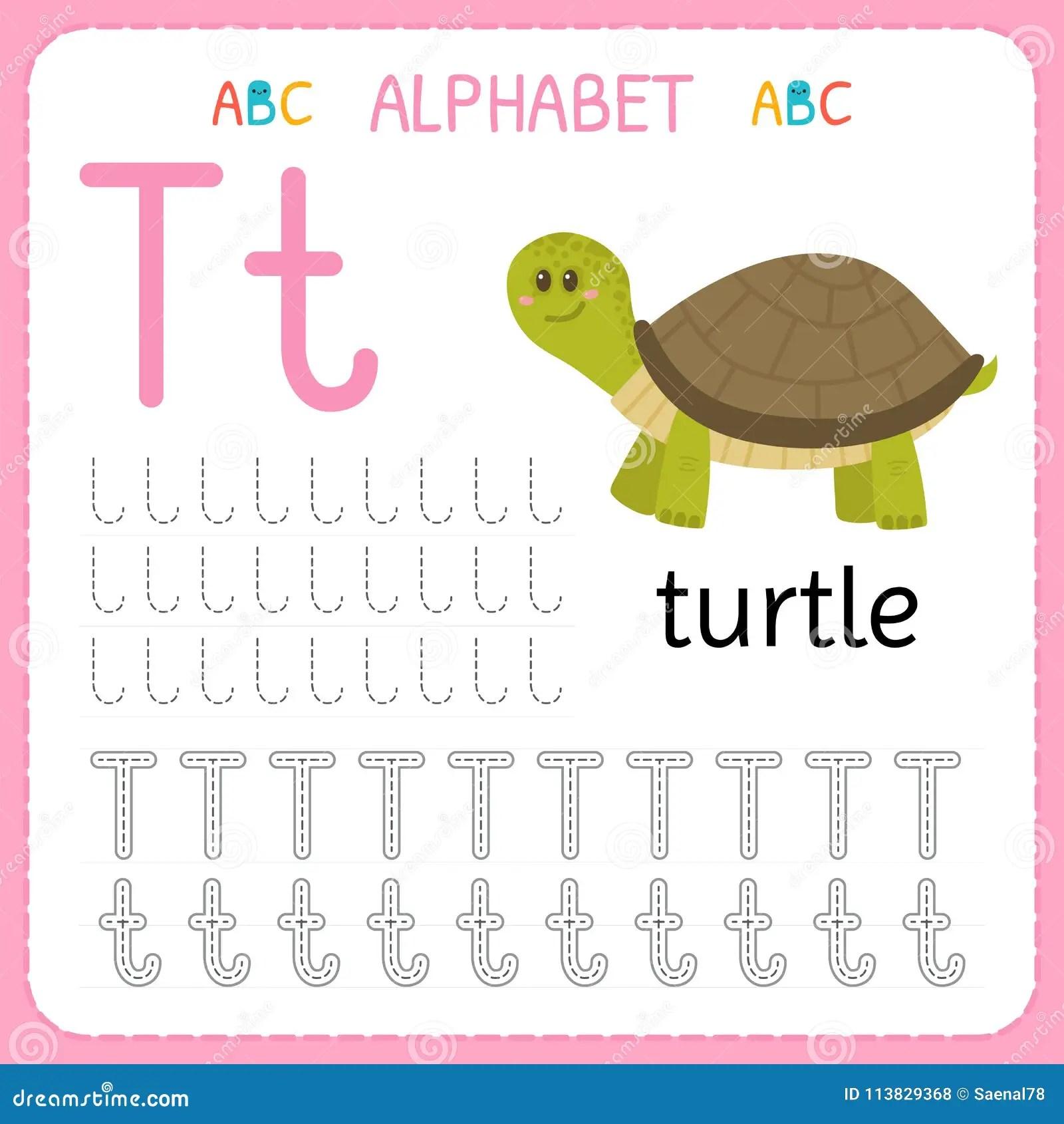 Alphabet Tracing Worksheet For Preschool And Kindergarten Writing Practice Letter T Exercises