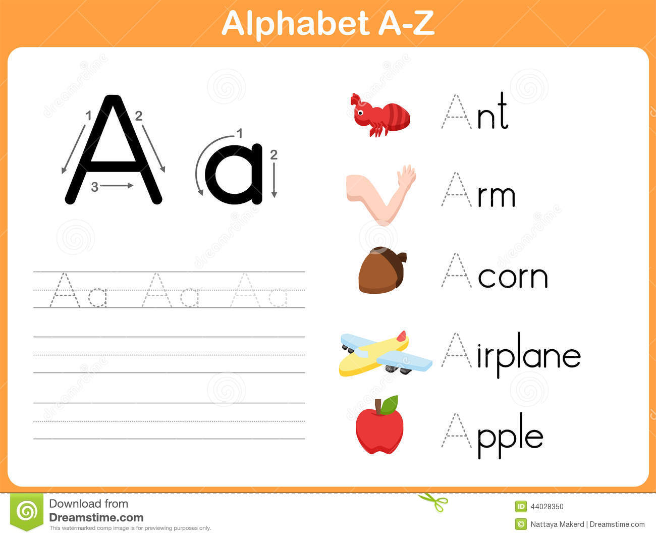 Alphabet Tracing Worksheet Stock Vector Illustration Of Literacy