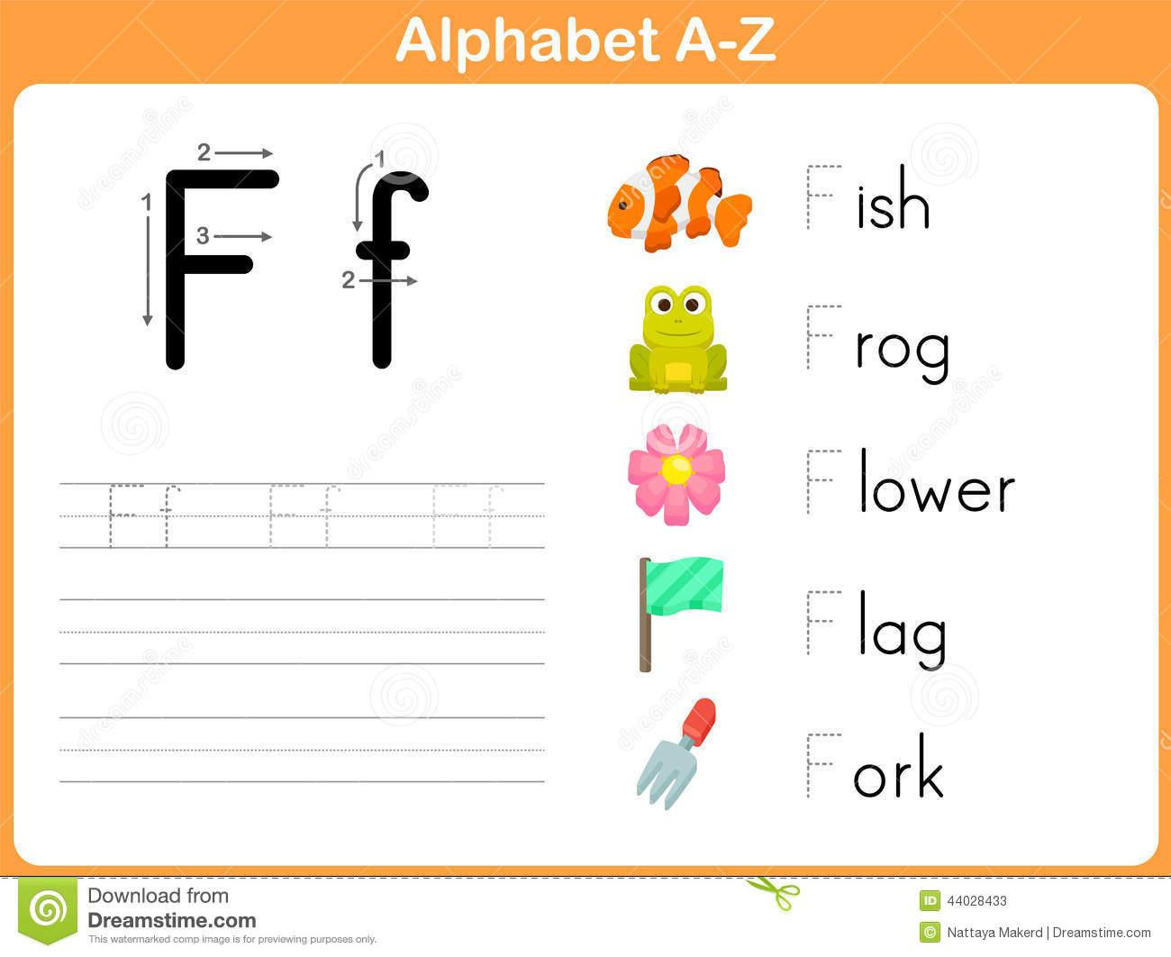 Alphabet Tracing Worksheet Stock Vector Image Of Child