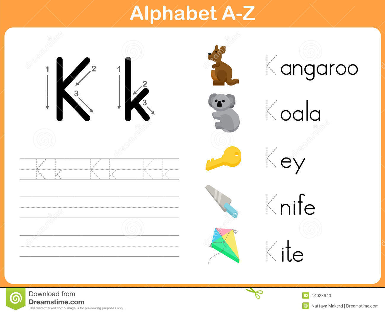 Alphabet Tracing Worksheet Stock Vector Image Of Spelling