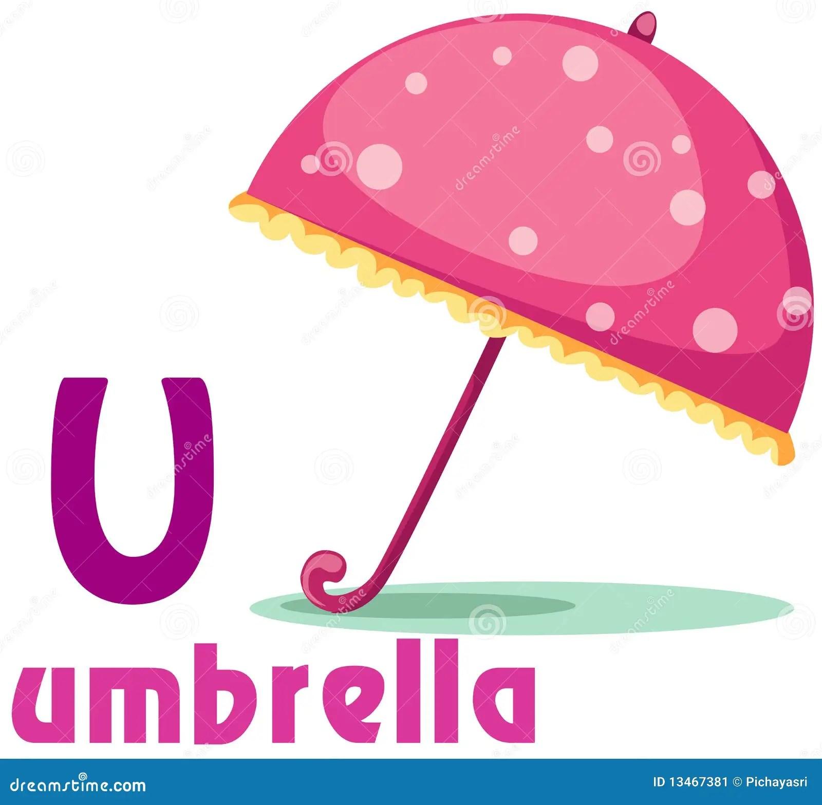 Alphabet U With Umbrella Stock Image