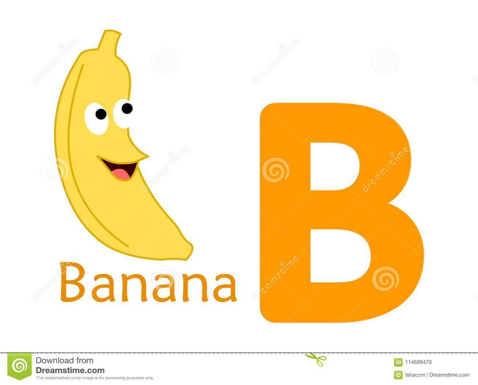 Alphabet Word B B For Banana Stock Vector