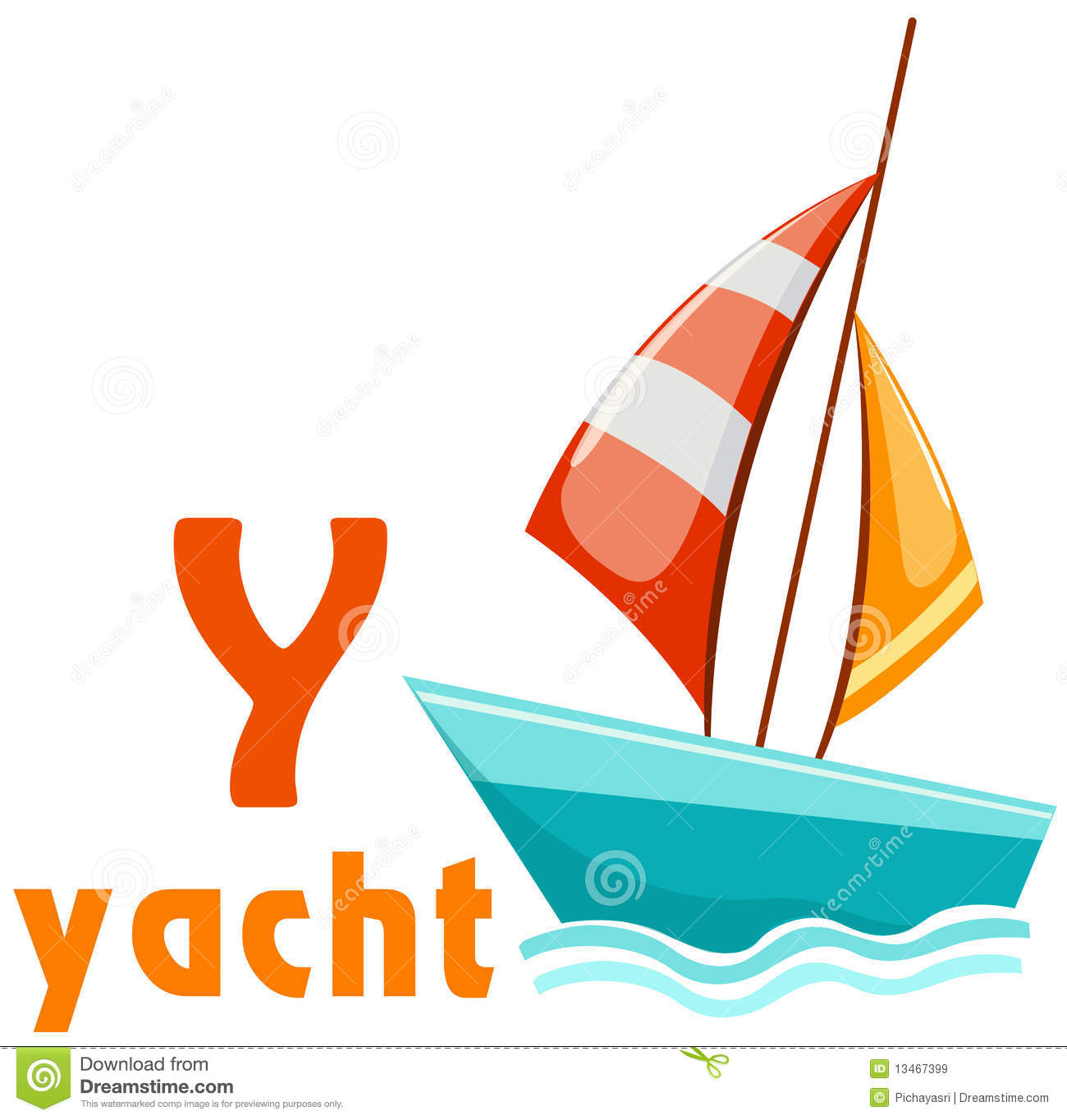Alphabet Y With Yacht Royalty Free Stock Images