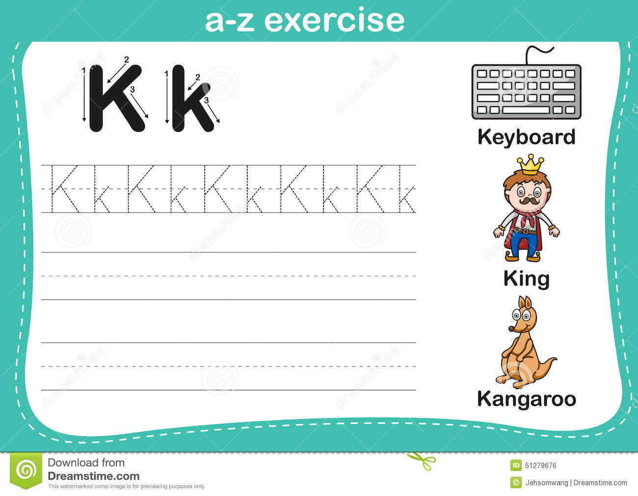 Alphabet A Z Exercise With Cartoon Vocabulary Illustration