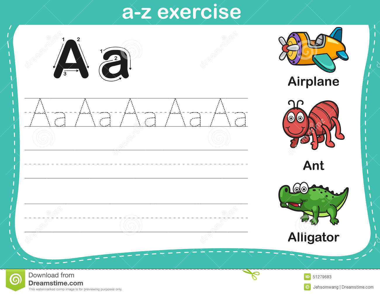 Alphabet A Z Exercise With Cartoon Vocabulary Illustration Stock Vector