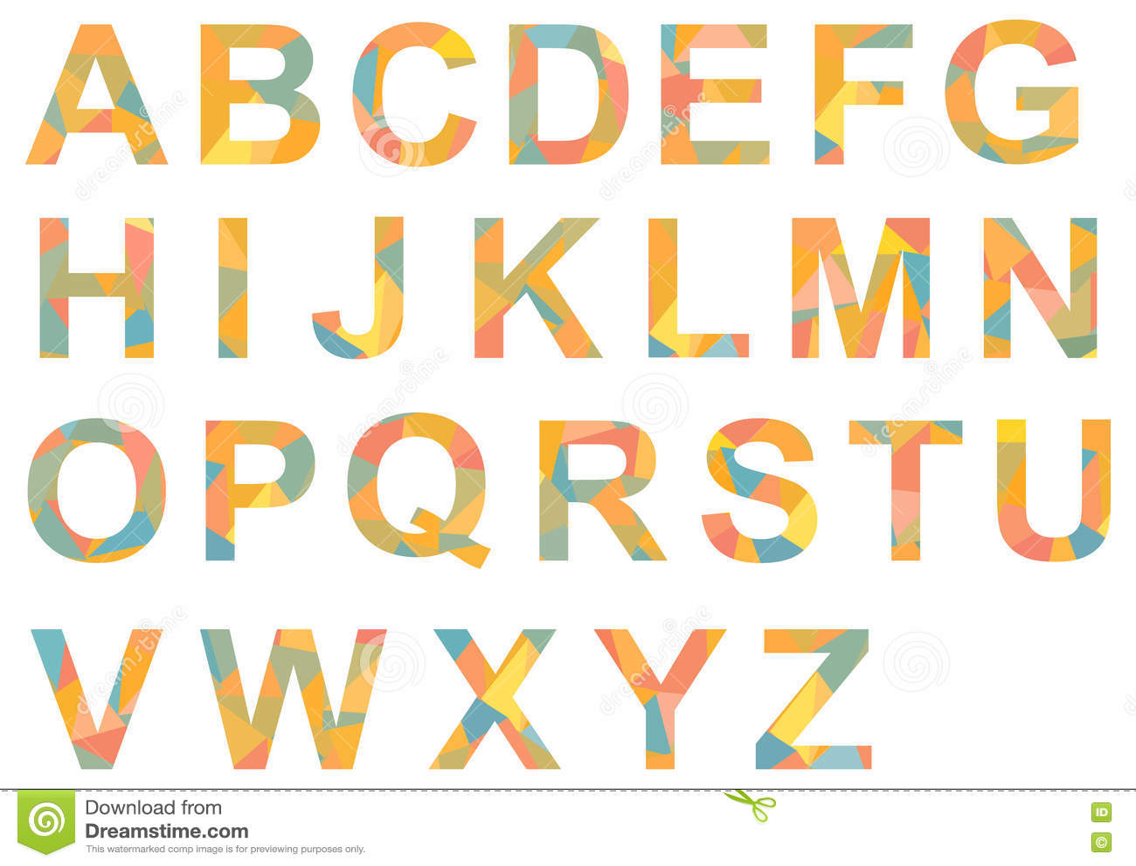 Alphabet A Z Single Letters Colorful Patterned Stock