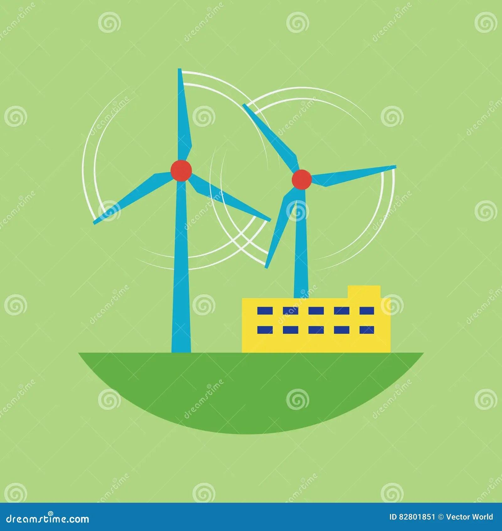 Alternative Energy Source Wind Station Vector Illustration