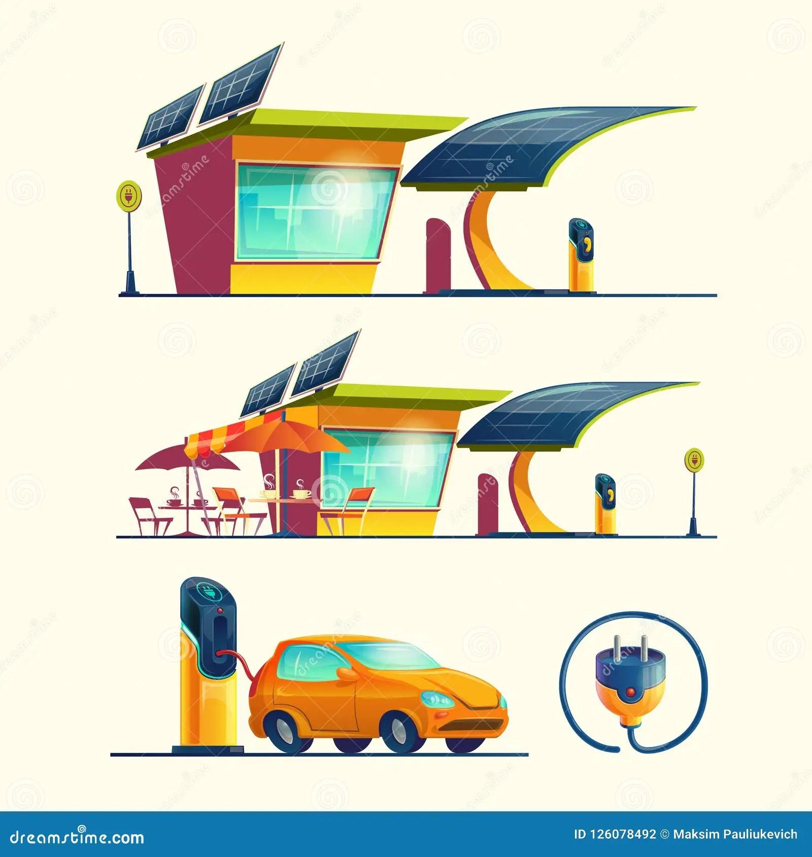 Alternative Energy Sources Cartoon Set Stock Illustration