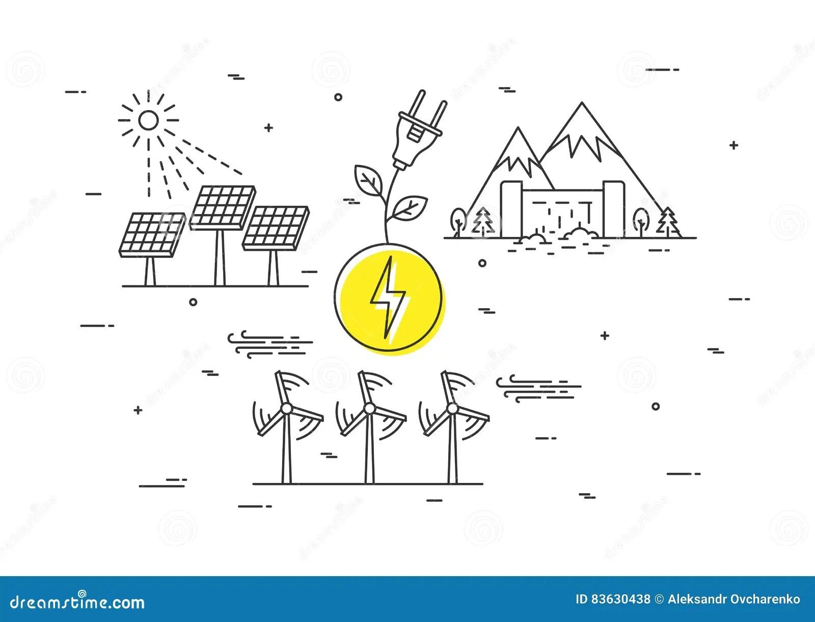 Alternative Energy Sources Vector Illustration Stock