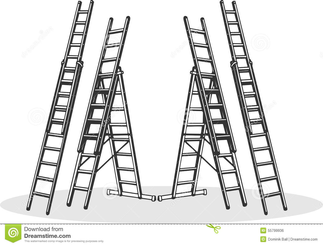 Aluminum Ladders Stock Vector