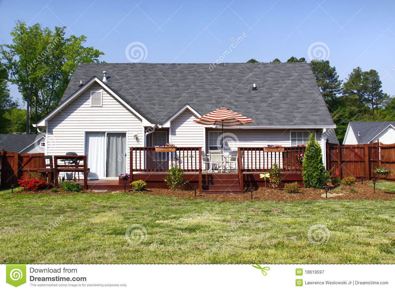 American Dream Home - Back Yard And Deck Royalty Free ... on Back Deck Ideas For Ranch Style Homes  id=63665