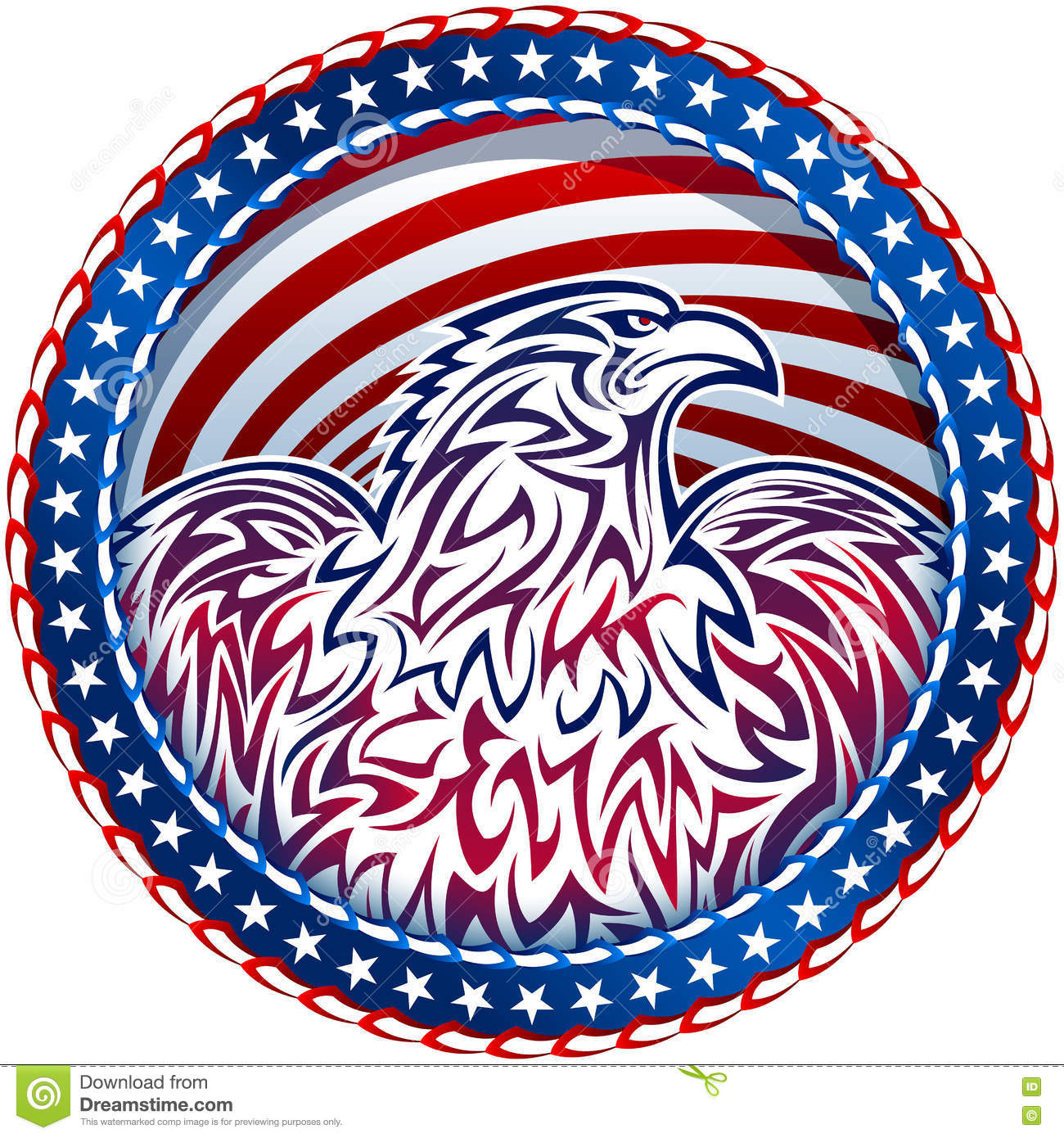 American Eagle Natioal Symbol Usa Fourth July Emblem Color
