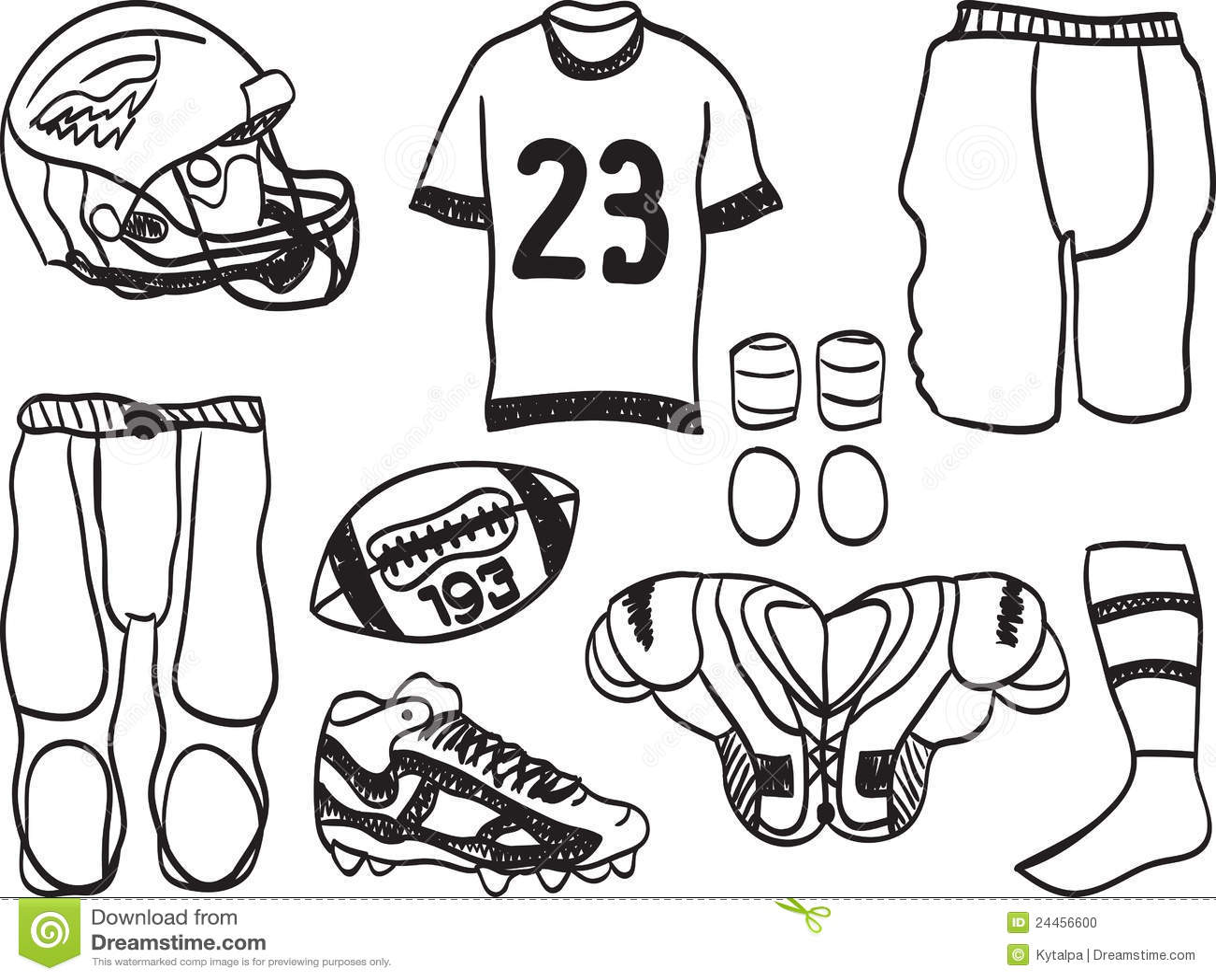 American Football Equipment Stock Vector