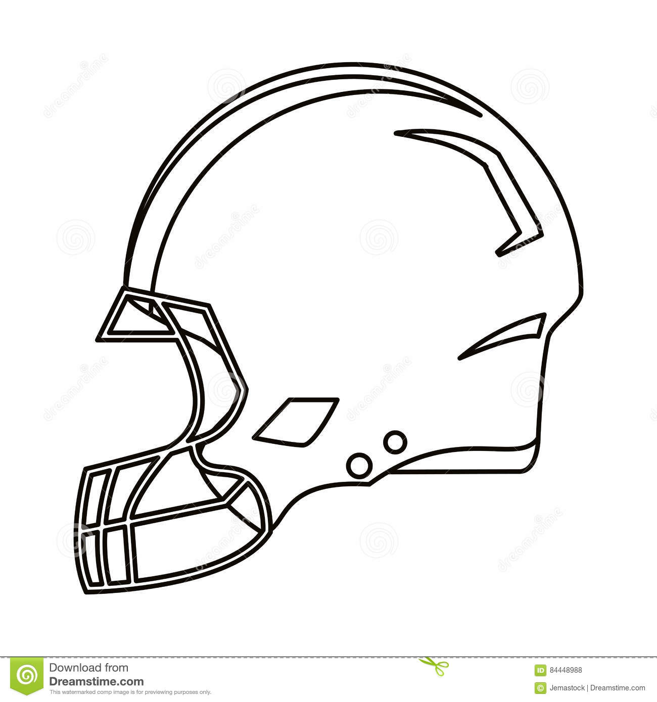 American Football Helmet Line Drawing Cartoon Vector