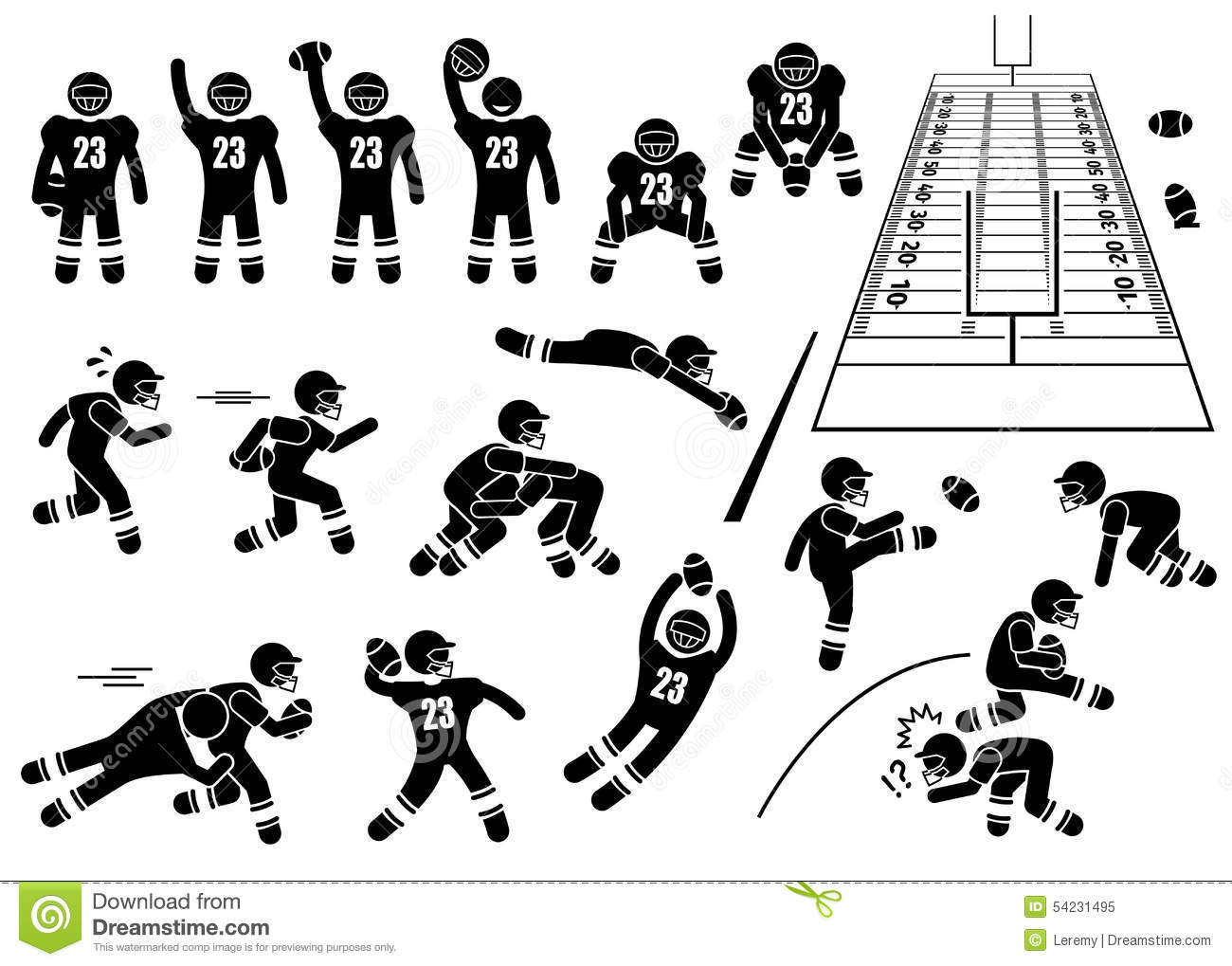 American Football Player Actions Poses Cliparts Stock