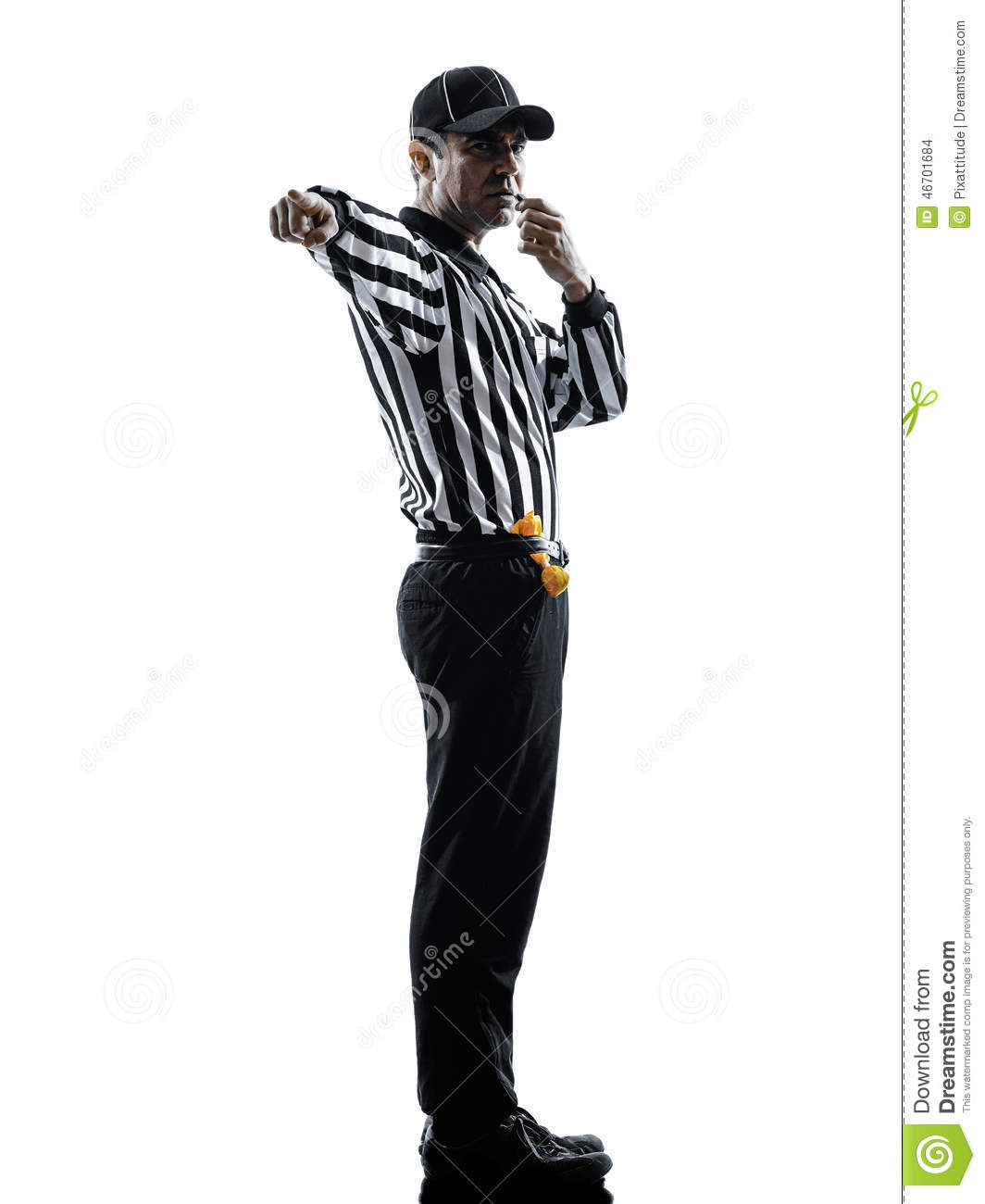 American Football Referee Whistling Silhouette Stock Photo