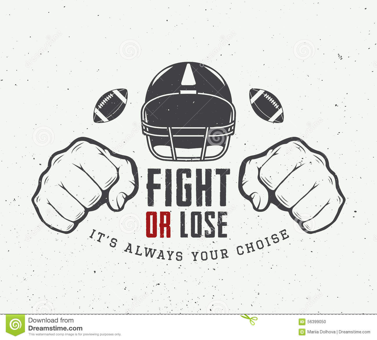 American Football Or Rugby Motivation With Helm Fists And