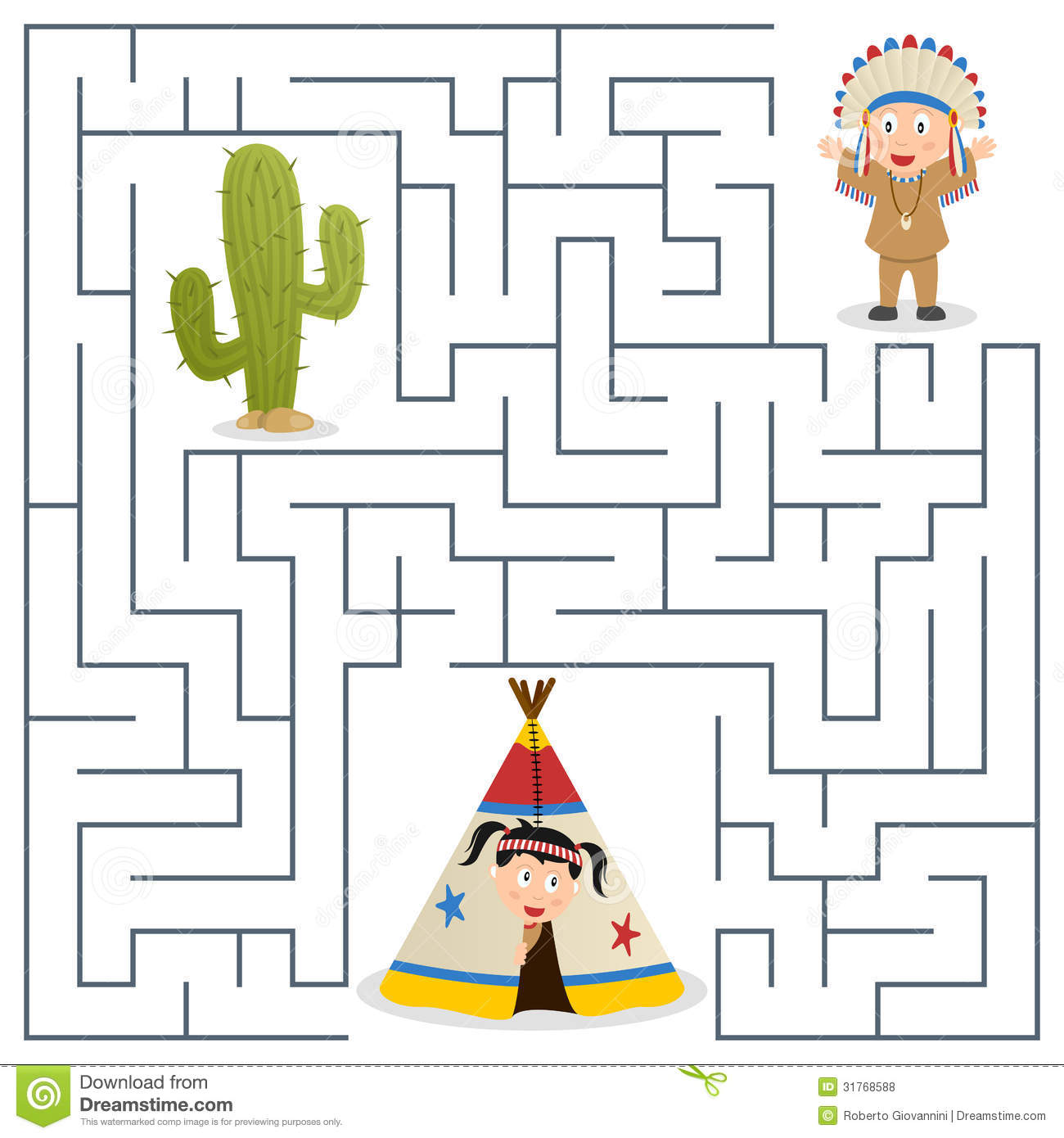 American Indians Maze For Kids Stock Vector