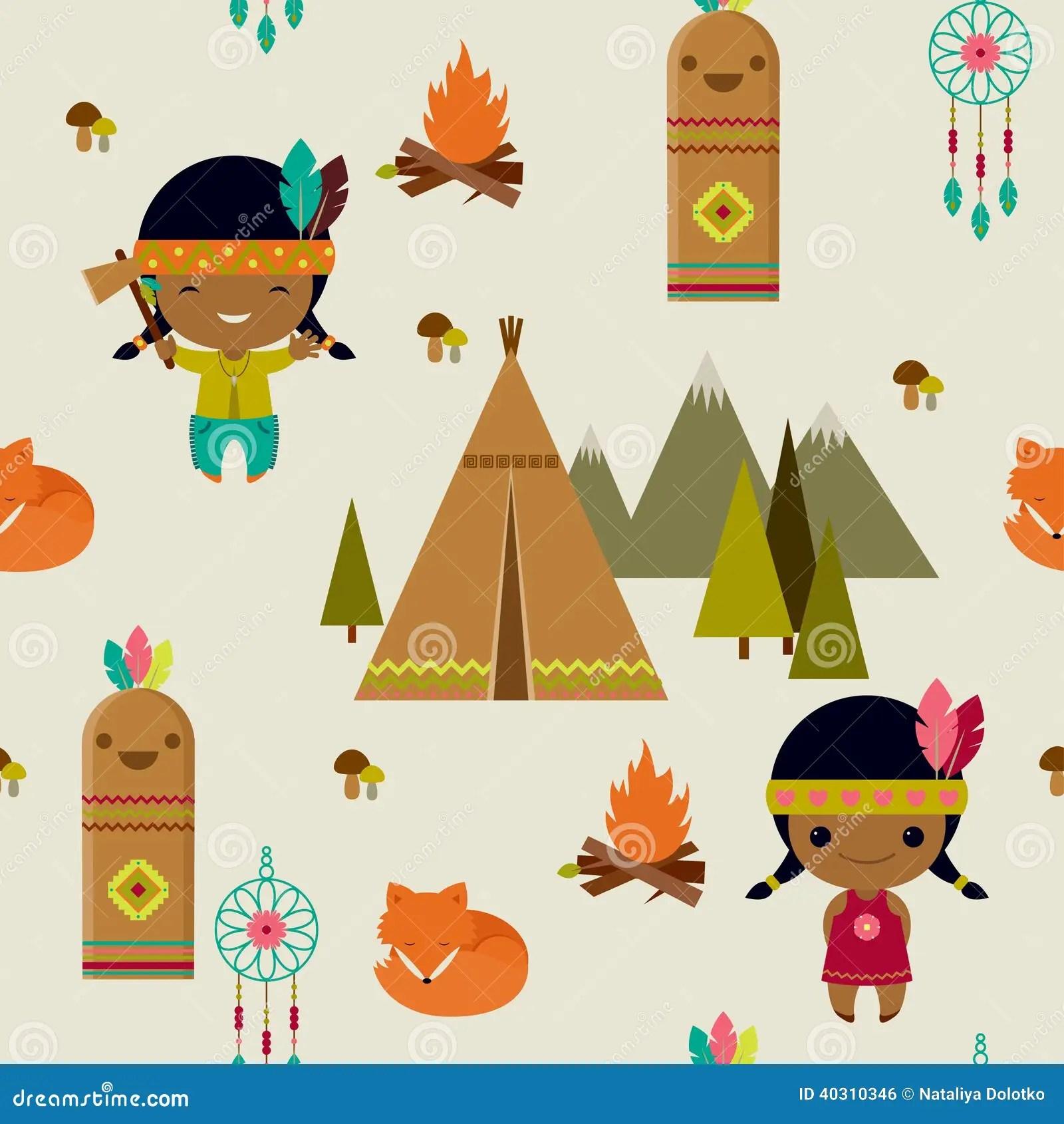 American Indians Seamless Wallpaper Stock Vector