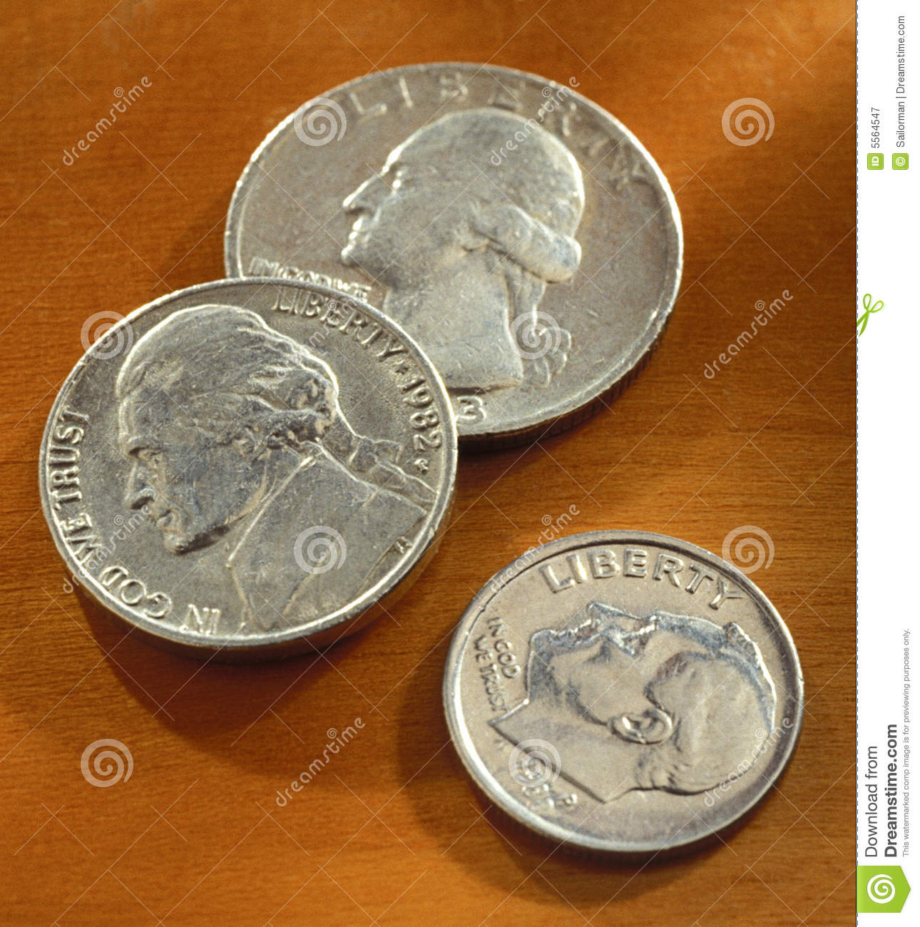 American Quarter Nickel And Dime Royalty Free Stock