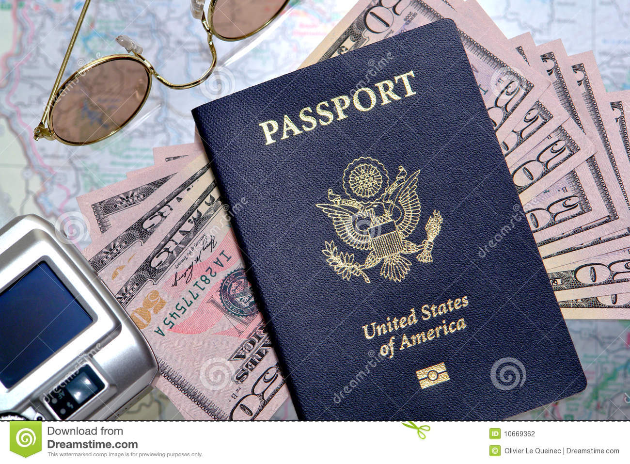 American Us Passport And Money Ready For Travel Stock
