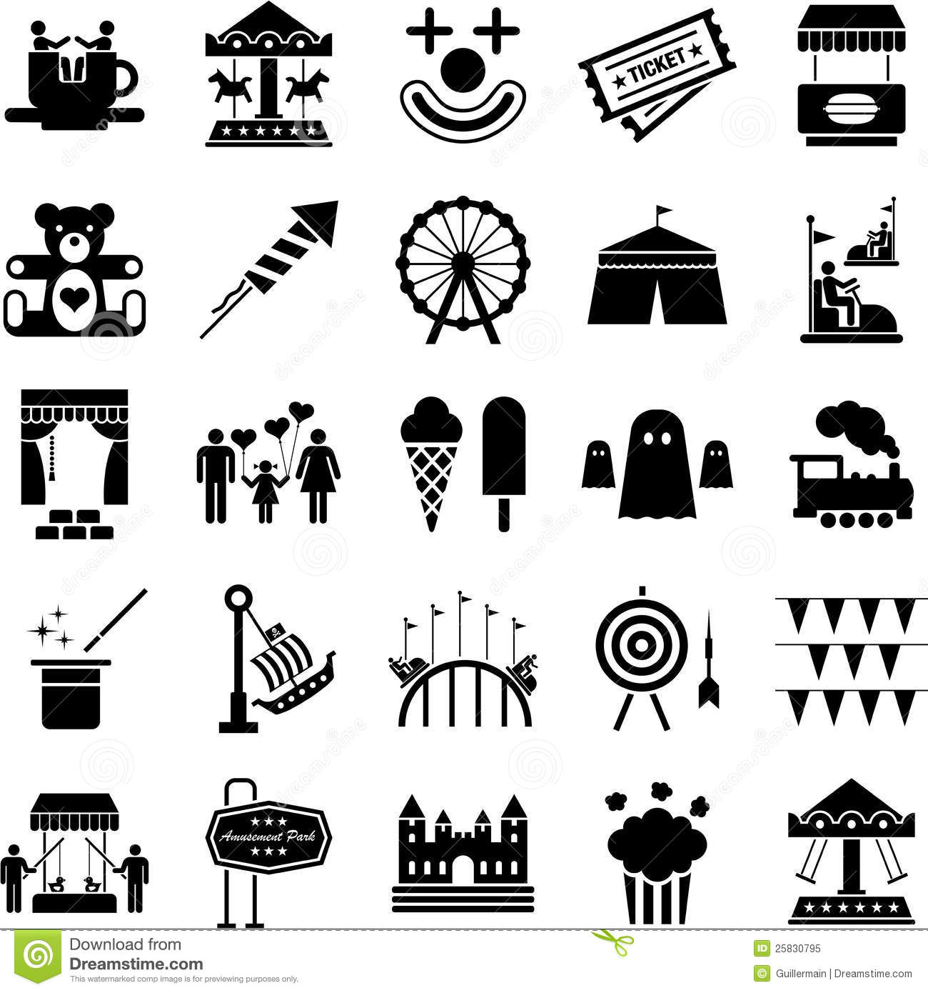 Amusement Park Icons Stock Vector Illustration Of Emotion