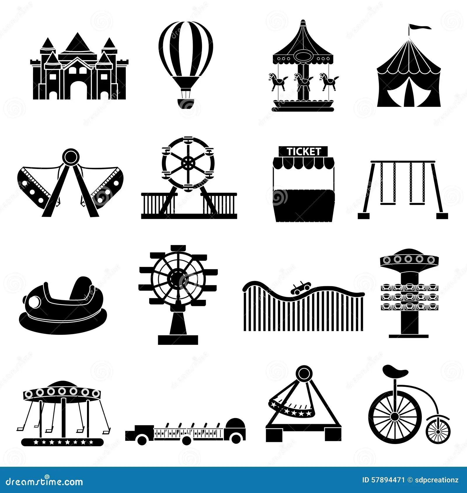 Amusement Park Icons Set Stock Vector Illustration Of