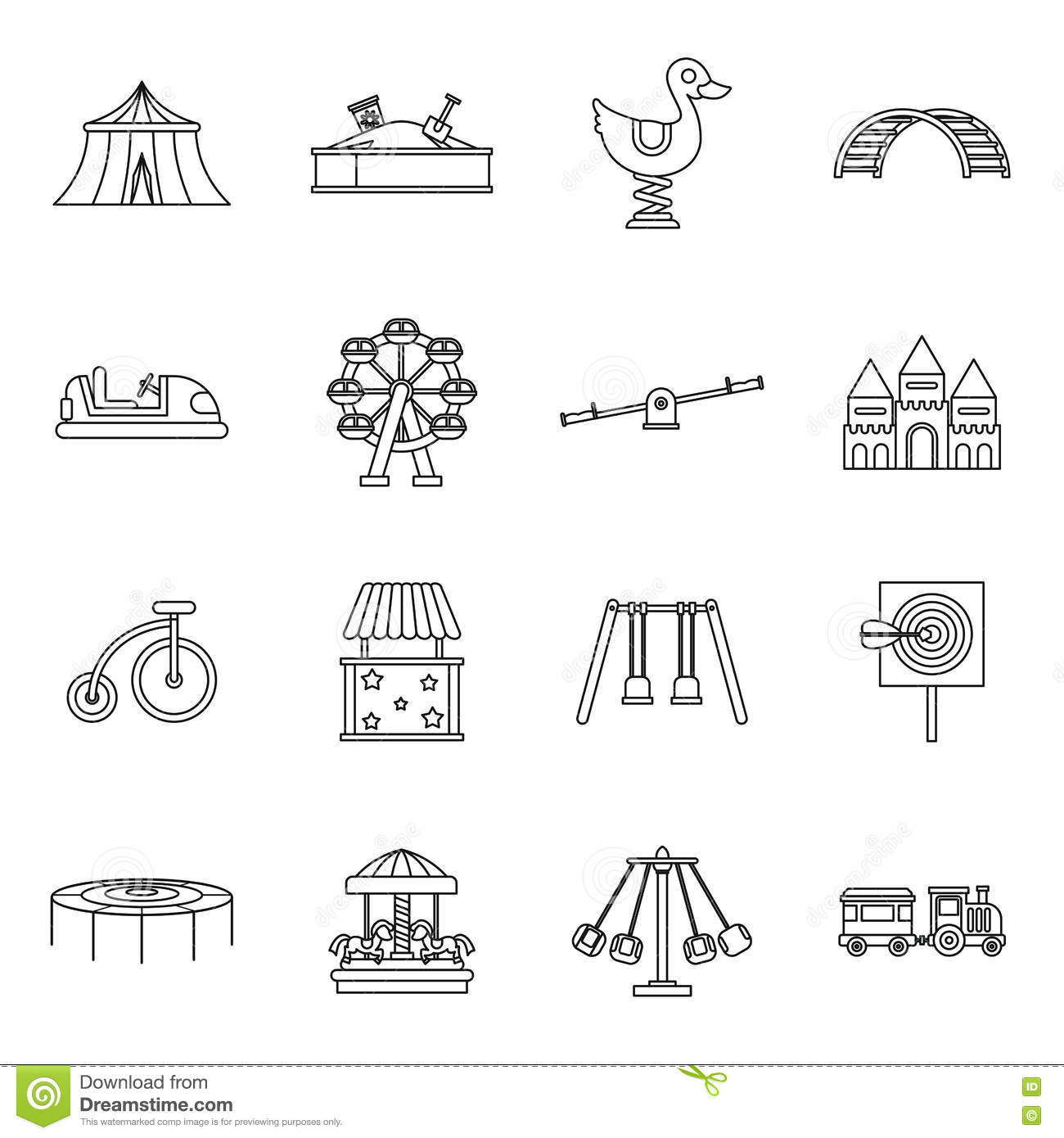 Swing Icons Set Outline Style Vector Illustration