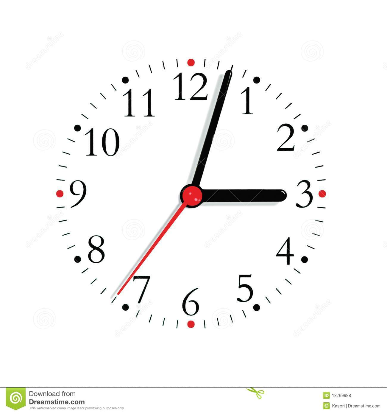 Ogue Clock Face Dial Black Red Finger Isolated Stock